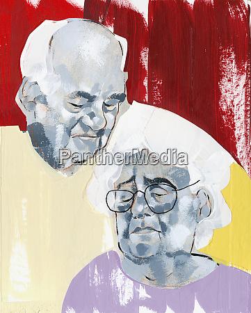 senior man looking at sad wife
