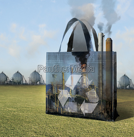 reusable bag in foreground storage tanks