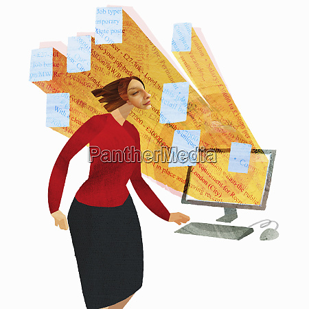 businesswoman with job adverts streaming from