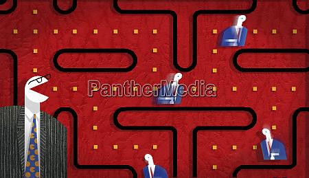 businessmen in pac man game diagram