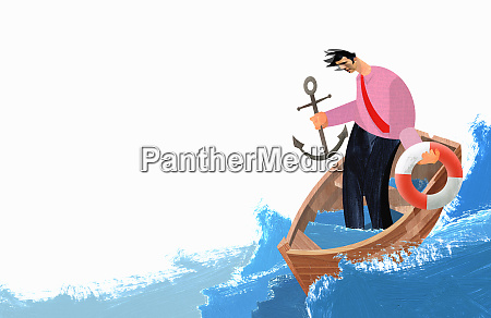 businessman in sinking boat holding anchor