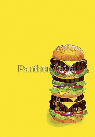 grosser vielschichtiger hamburger