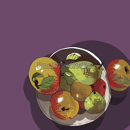 bowl of apples and pears
