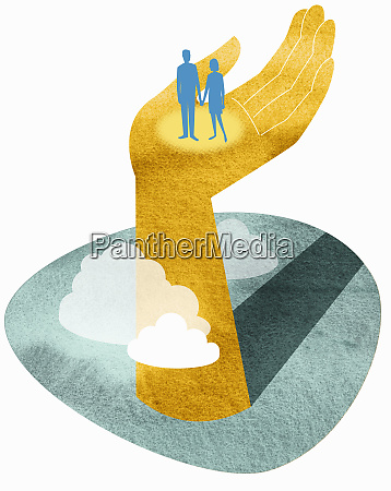 couple standing in large hand