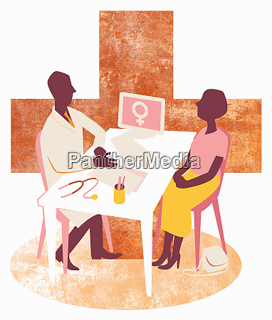 doctor and female patient meeting in