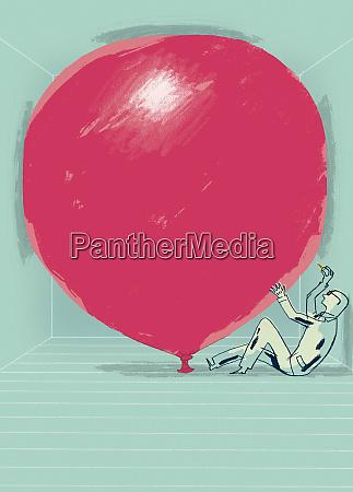 geschäftsmann, über, großen, roten, ballon, pop - 26004862