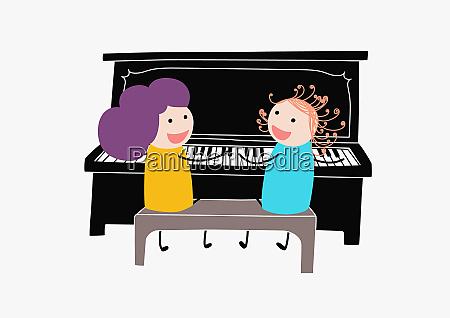 kinder, spielen, duett, auf, klavier - 26004821