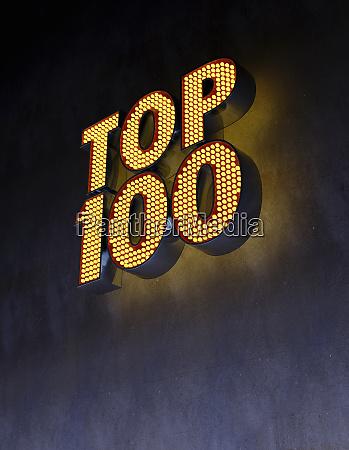 top 100 illuminated sign