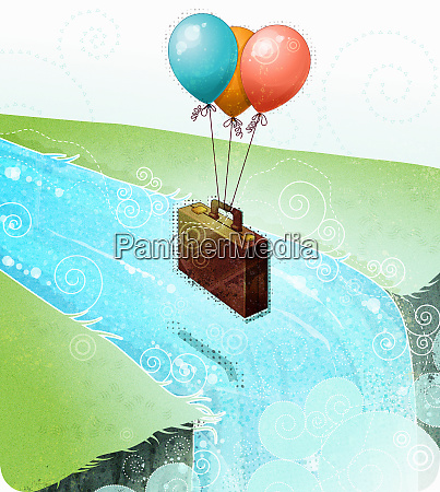 balloons carrying briefcase over waterfall