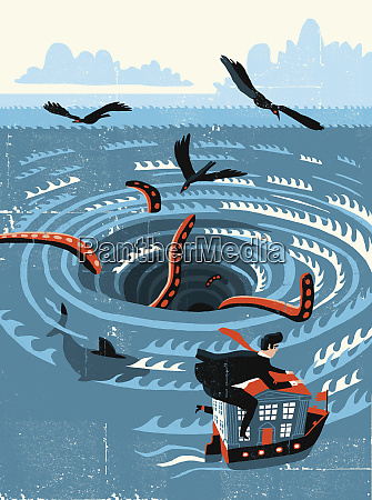 businessman escaping whirlpool vortex on bank