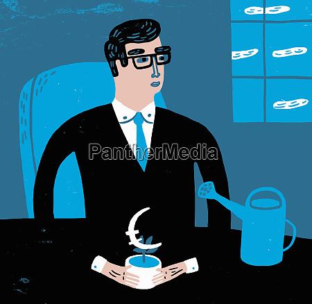 businessman sitting at desk nurturing euro