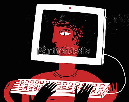 smiling face of computer hacker inside