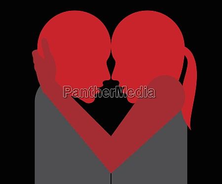 couple hugging and forming heart shape