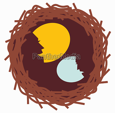 happy and sad profiles over eggs