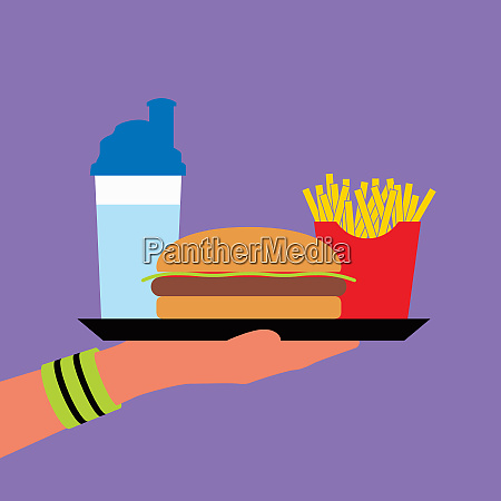 hand wearing wristband holding fast food
