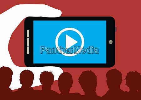 grosse hand haelt smartphone mit play