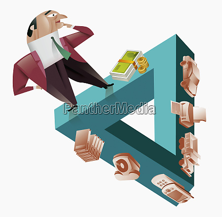 businessman standing on triangle next to