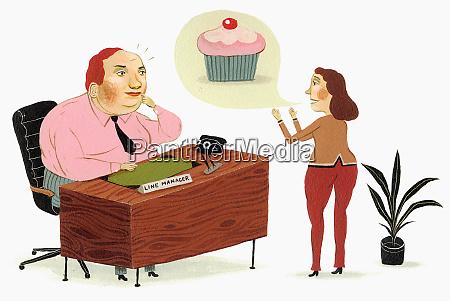 cupcake in sprechblase ueber frau im