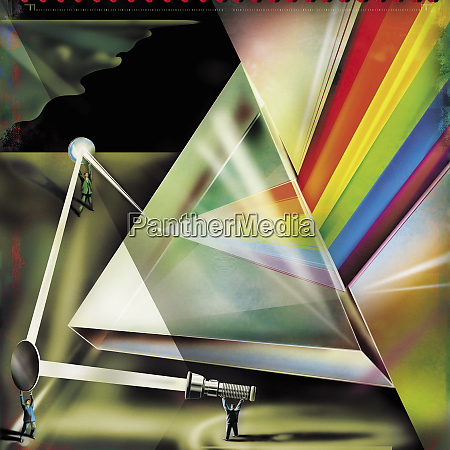 unternehmer, arbeiten, mit, licht, spiegeln, und, prisma - 26005192