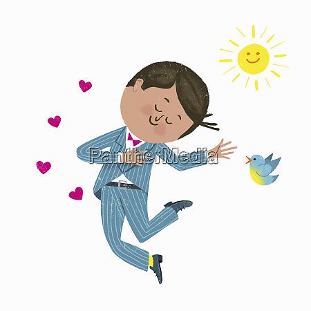 mann in liebe springt vor freude
