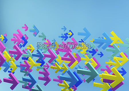 cluster of multicolored arrows on blue