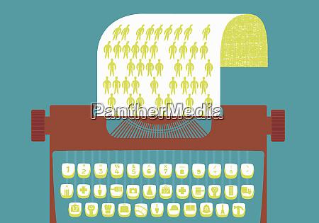 schreibmaschine mit grafiktasten die berufe darstellen