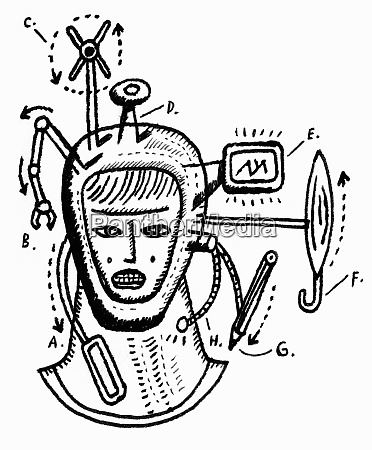 roboterkopf mit gadgets
