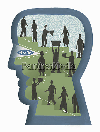 people collaborating inside mans head