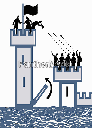 raised drawbridge separating people in high