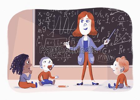 lehrer lehrt kleinkinder komplexe mathematik