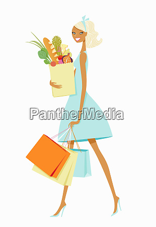 woman carrying shopping and grocery bags