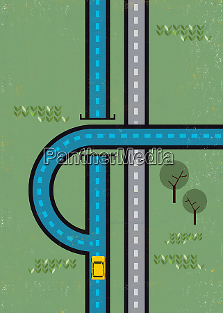 car approaching curving diversion in the