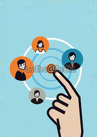 hand pushing at symbol connecting network