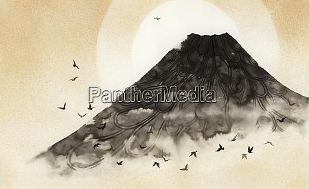 birds flying over misty volcano mountain