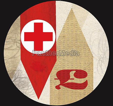 red cross with british pound symbol