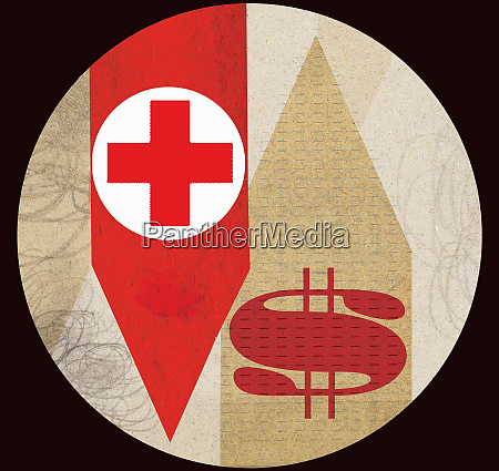 red cross with dollar sign on