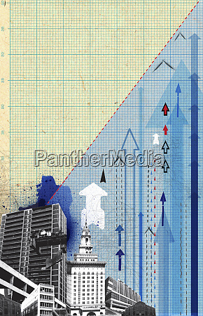 urban cityscape with arrows on graph