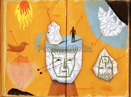 gesichter auf zerknittertem papier gezeichnet