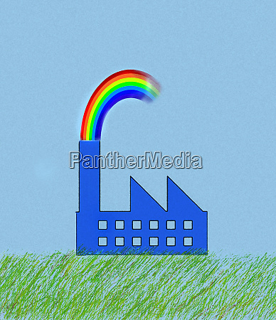 factory building in green field with