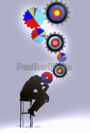 the thinker with connected multicolored target
