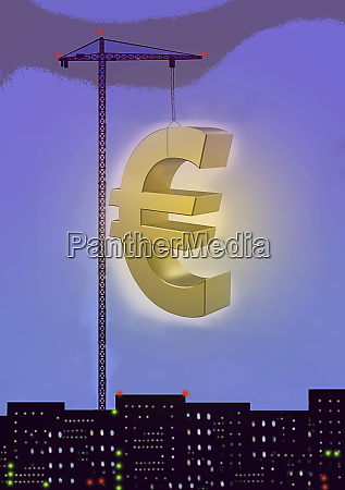 crane lifting large gold euro symbol