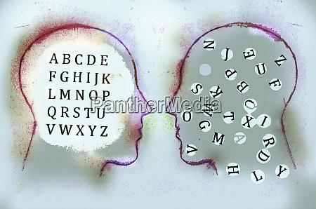 alphabet inside of mens heads face