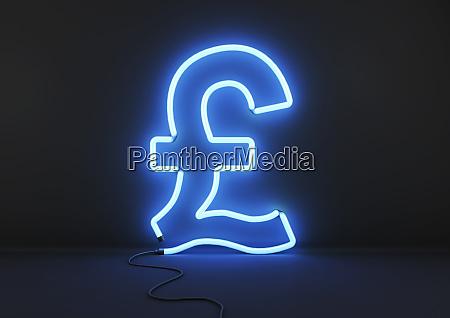 neon blue british pound sign on