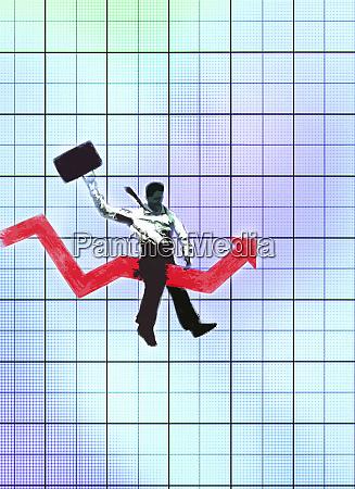 businessman riding bucking bronco line graph