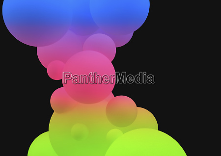 abstract bright multicolored bubbles on black