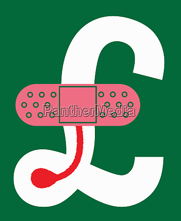 sticking plaster on british pound sign