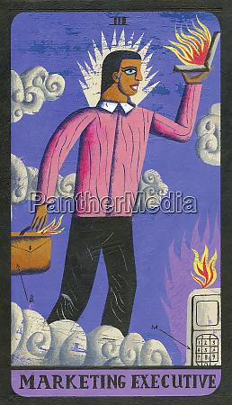 tarot card depicting businessman with laptop