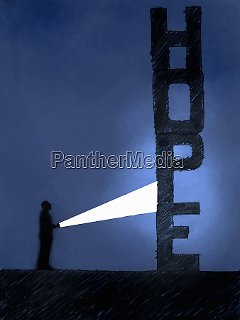 man with flashlight in dark discovering