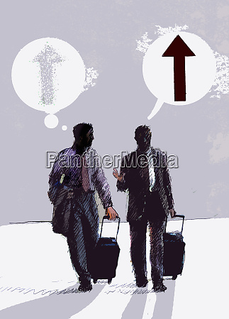 businessmen pulling suitcases talking with speech