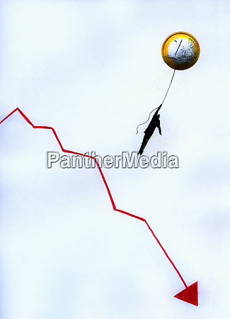 businessman hanging from euro coin balloon